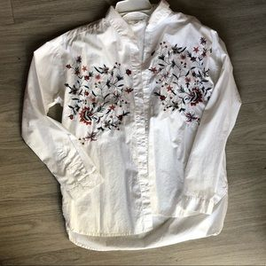 Floral embroidered button down shirt